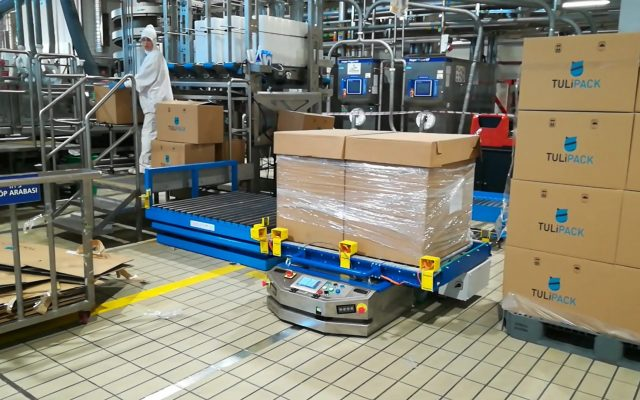 Automated Laser Guided Vehicle Conveyor AGV Stainless Steel Konveyörlü AGV Paslanmaz Çelik